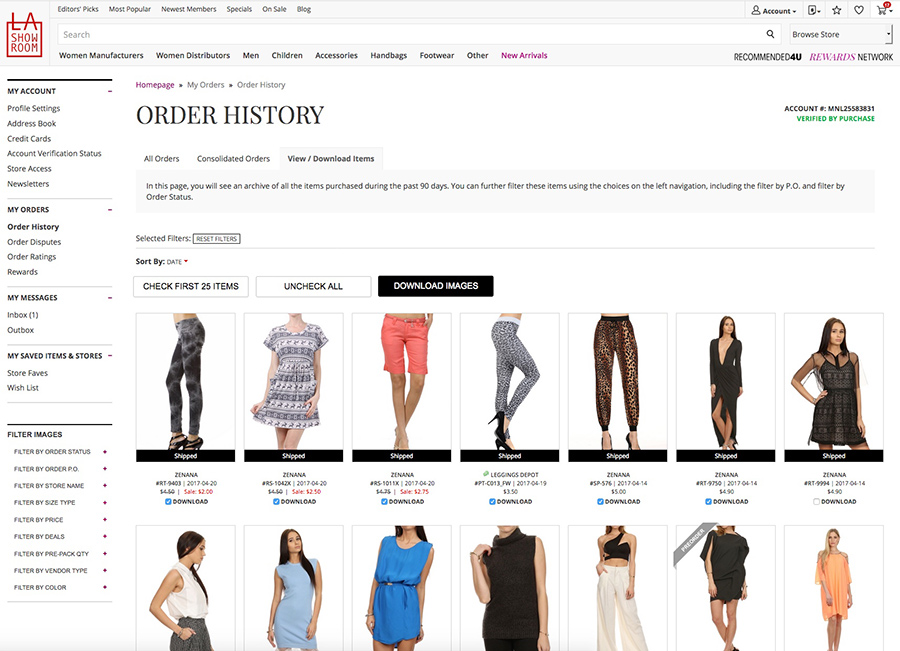 Order History's View/Download Images tab content with selected images checked